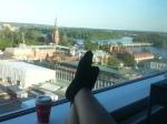 Kaffepaus i fönstret