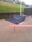 Mitt tält dog en snabb död under regnovädret i Halmstad